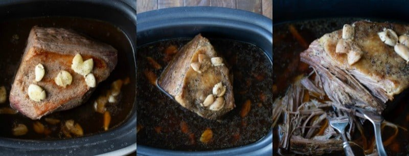 Browned roast with garlic in a slow cooker insert