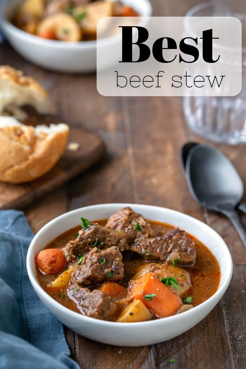 Beef stew recipe with meltingly tender pieces of beef, carrots, and potato. #beefstew #beef #roast #best #recipe