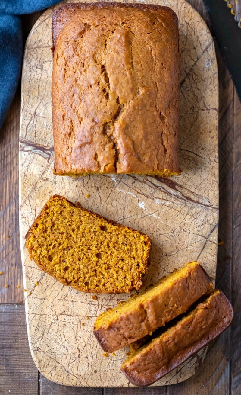Slices of pumpkin bread on a cutting board