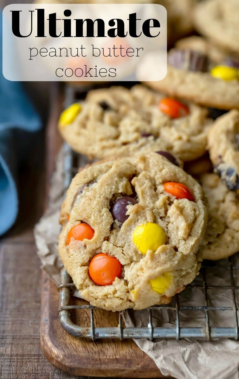 Ultimate peanut butter cookie recipe made with Reese's pieces and peanut butter cups. #Halloween #candy #peanutbutter #cookie #recipe #best #easy