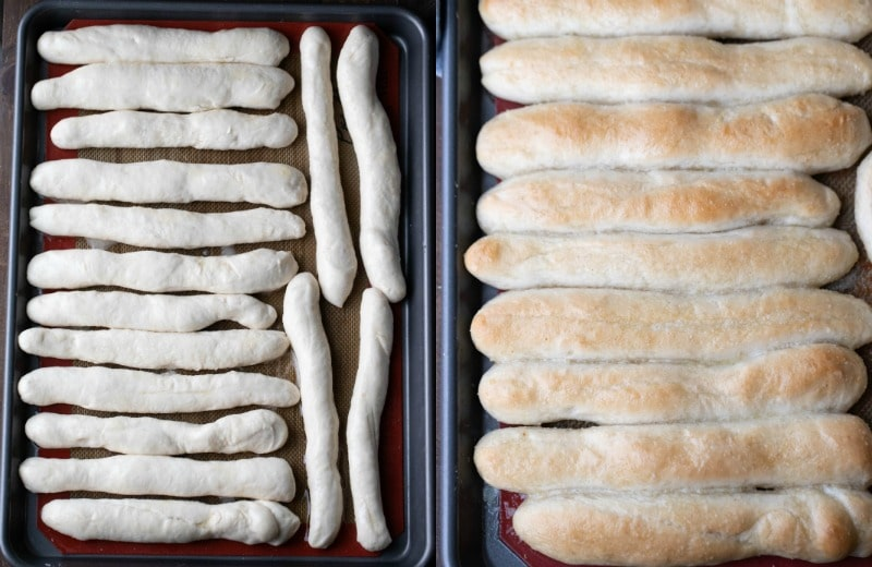Risen breadstick dough on a baking tray