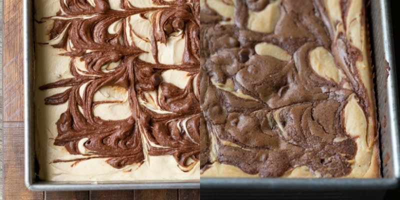 Swirled peanut butter brownie batter