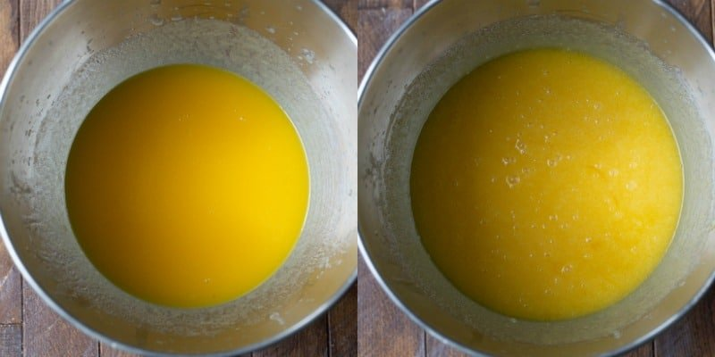 Melted butter in a silver mixing bowl