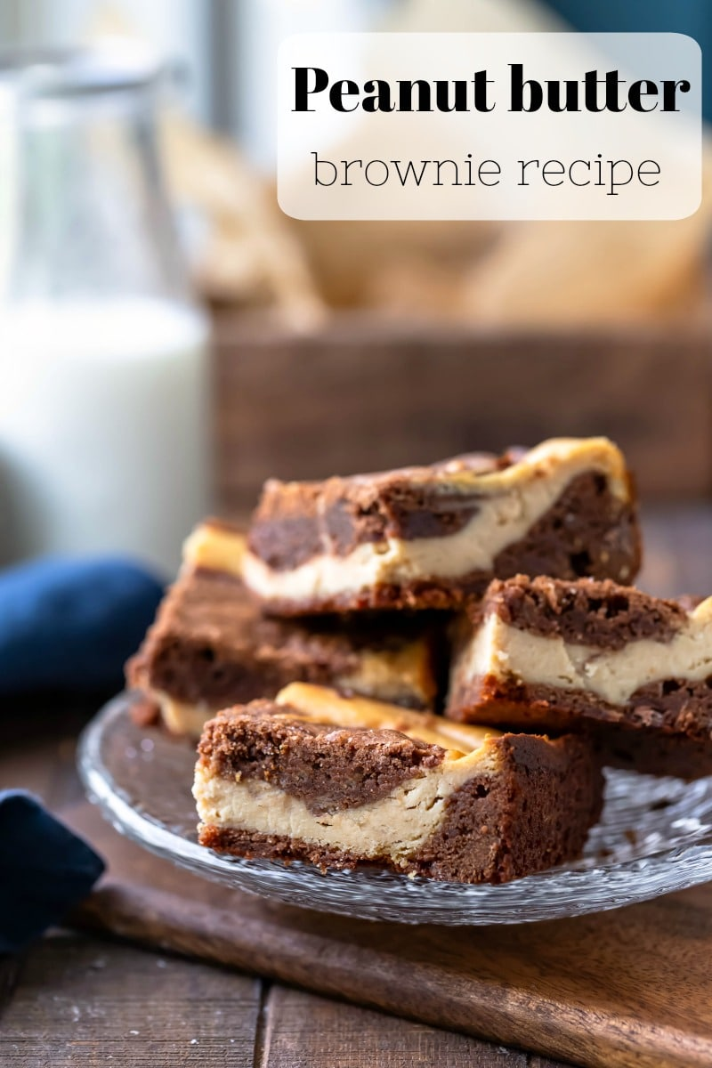 Peanut butter brownies are chocolate brownies with peanut butter cheesecake swirl! #brownies #chocolate #peanutbutter #recipe #homemade #dessert