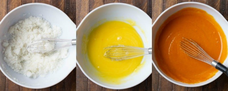 Pumpkin bread ingredients in a white mixing bowl