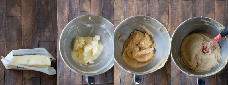Butter and peanut butter in a mixing bowl for ultimate peanut butter cookies
