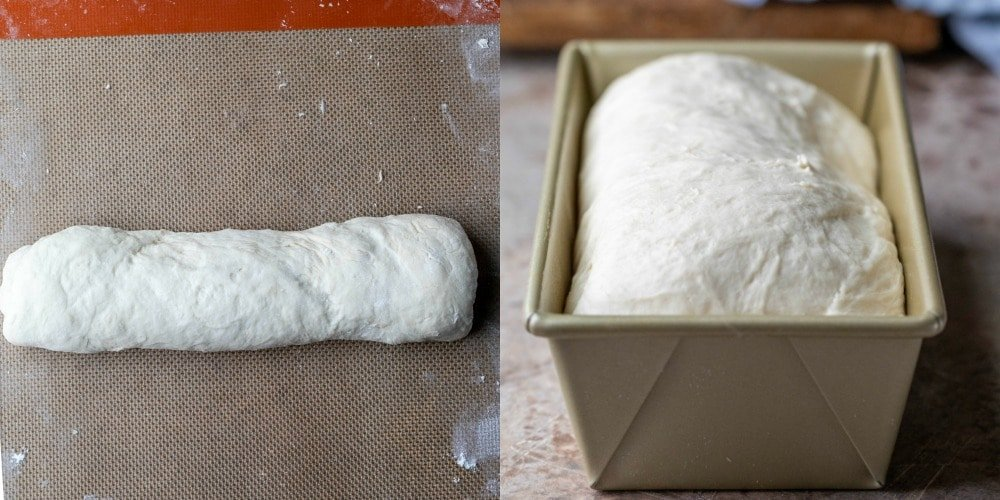 Unbaked white bread dough in a gold baking pan