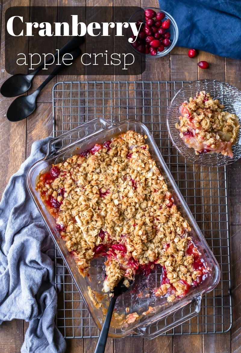 Cranberry Apple Crisp takes the best of sweet apple crisp and adds a tart cranberry twist! The fruit is topped with a delicious brown sugar oatmeal topping for a deliciously comforting dessert. 