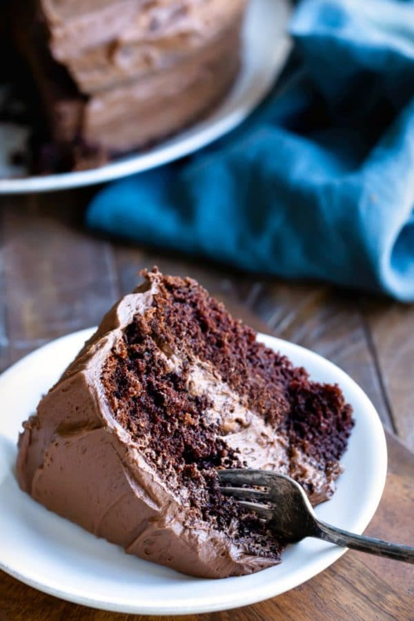 Slice of chocolate fudge cake on a white plate with a fork in it