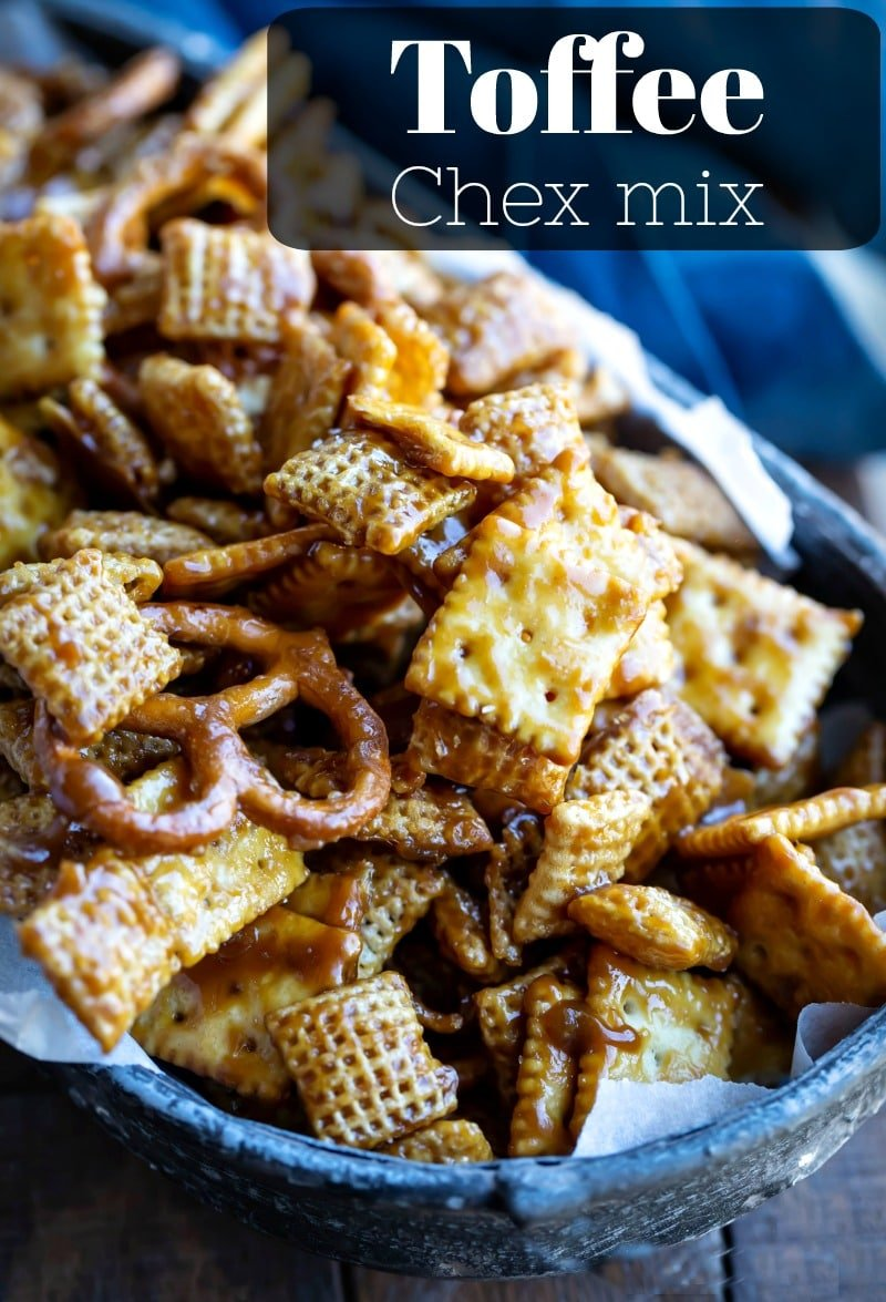 Toffee Chex Mix is a sweet and salty wonder! The Chex mix is coated with a sweet and salty toffee coating for the perfect dessert or snack. #Chexmix #sweet #salty #dessert #snack #appetizer #recipe