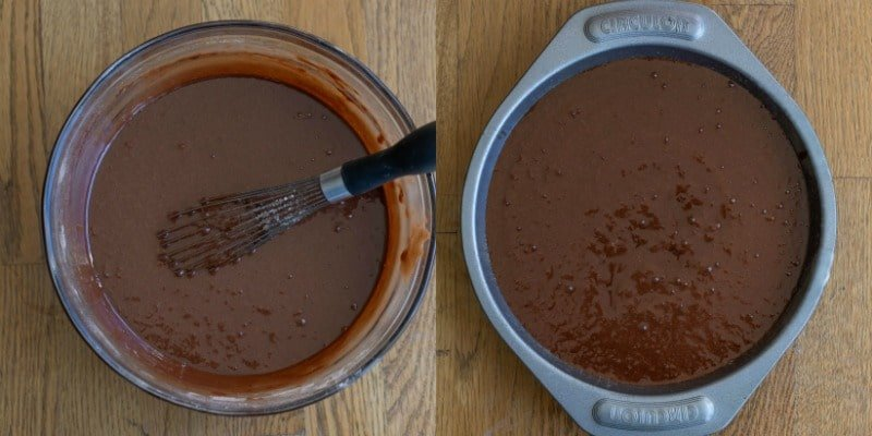 Chocolate fudge cake batter in a cake pan