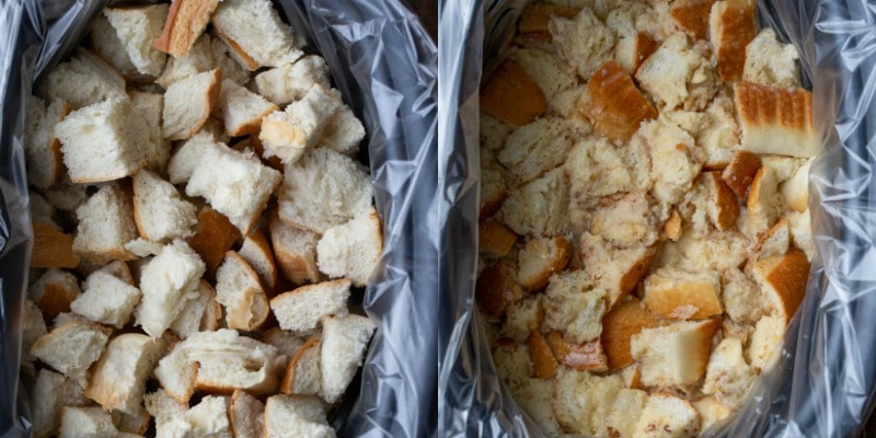 Bread cubes in a slow cooker insert for crock pot French toast