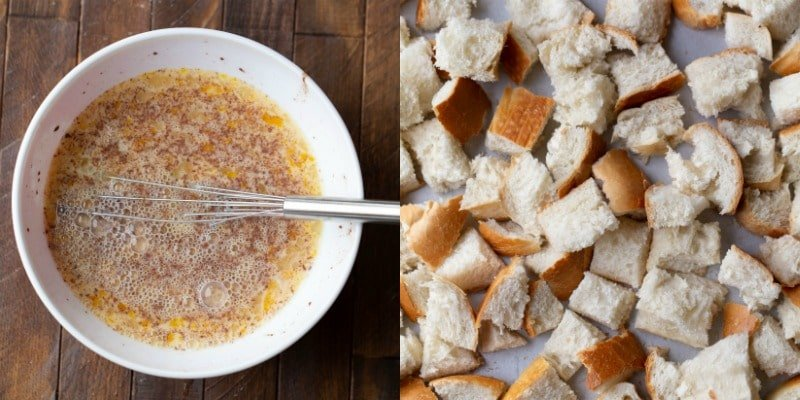 Dried bread cubes and egg mixture for crock pot French toast