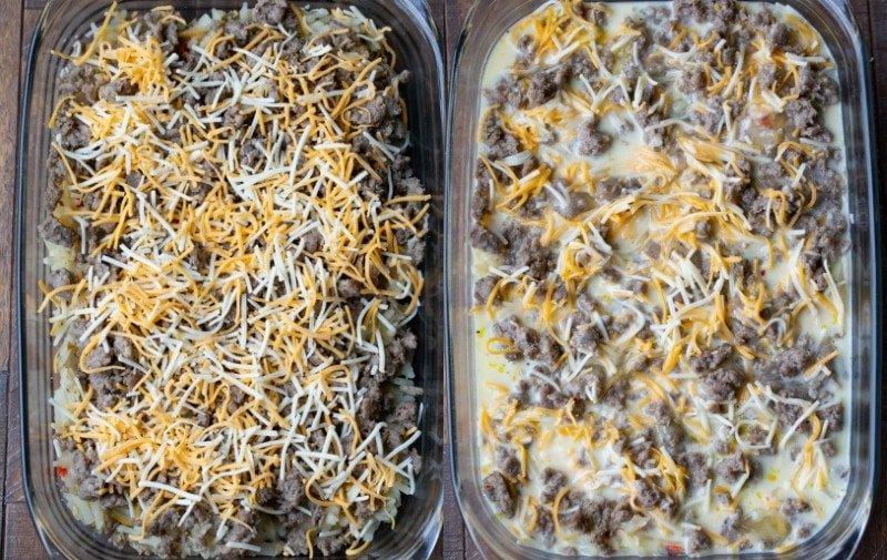 Uncooked sausage breakfast casserole in a glass baking dish