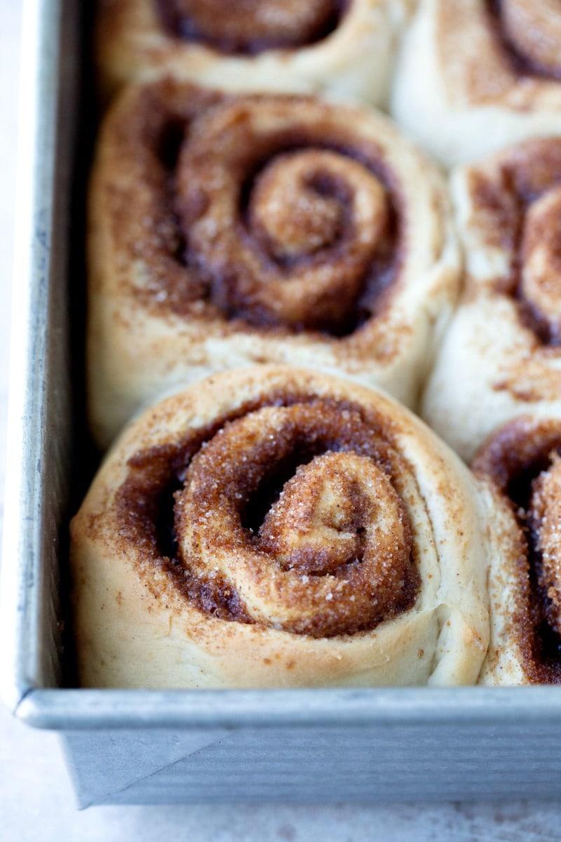 Unfrosted maple cinnamon rolls in a baking pan