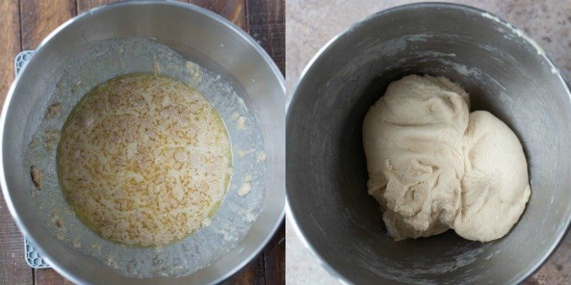 Yeast proofing in a silver mixing bowl