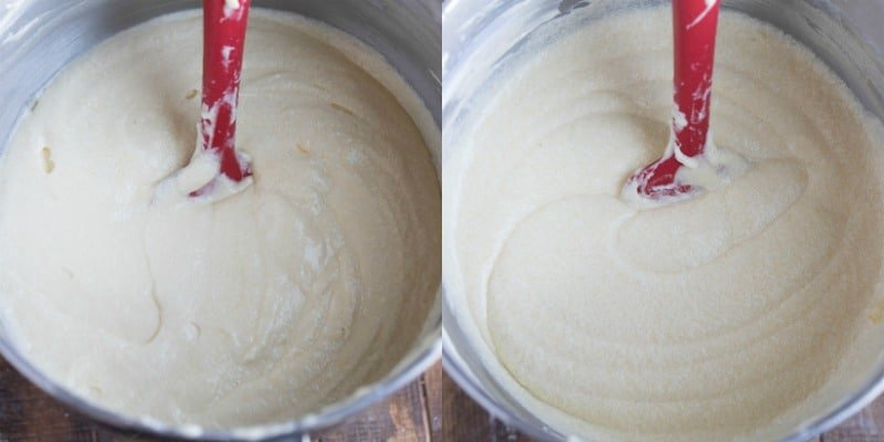 yellow cake batter in a silver mixing bowl
