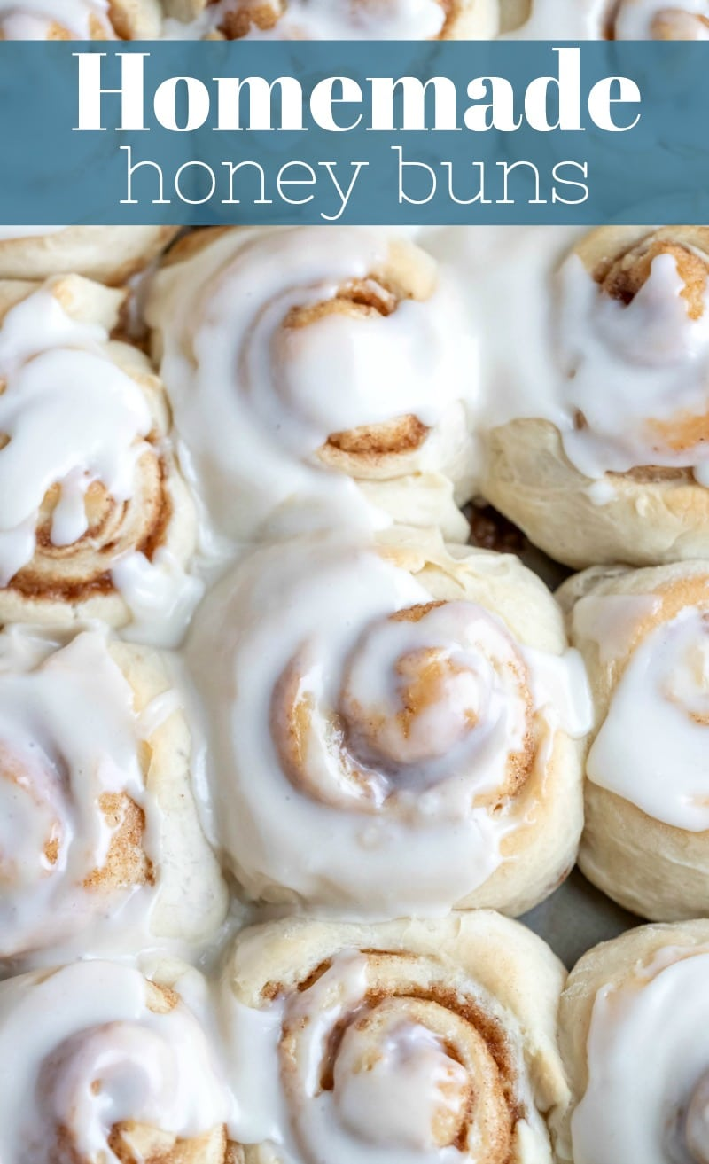 Homemade honey buns! This easy recipe can be made from scratch in about an hour.  #honeybuns #homemade #sweetroll #breakfast #yeast #scratch #easy #recipe