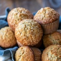Oatmeal muffins in linen-lined basket