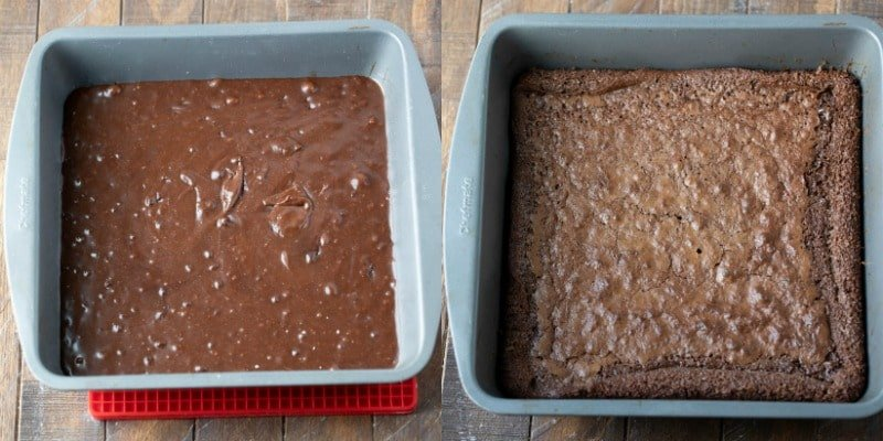 Flourless brownie batter in a baking dish