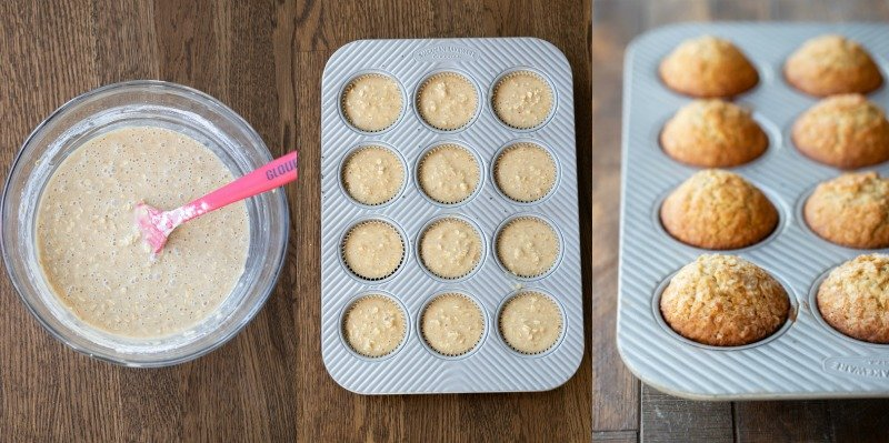 Oatmeal muffin batter in a muffin tin