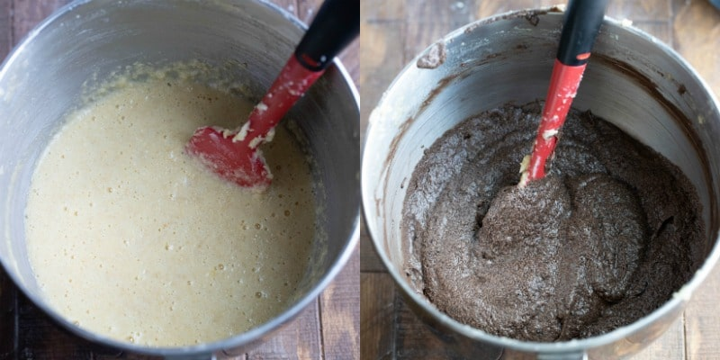 Chocolate pound cake batter in a silver mixing bowl
