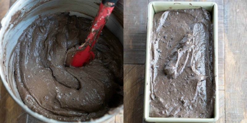Chocolate pound cake batter in a loaf pan