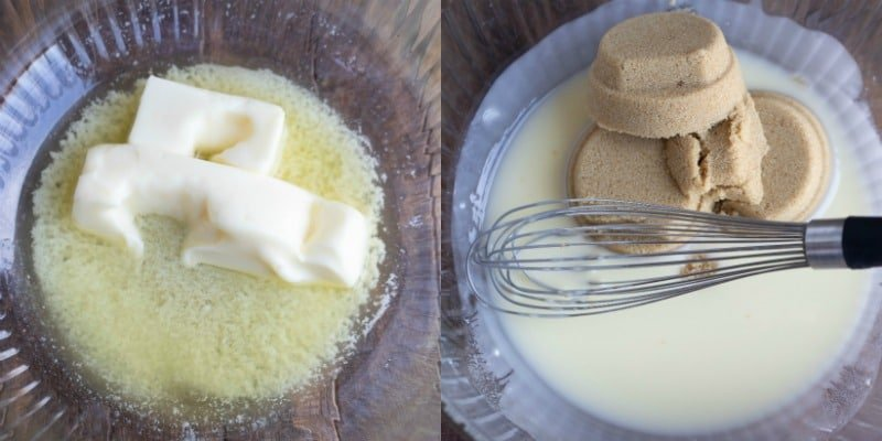 Butter in a glass dish for cowboy cookies