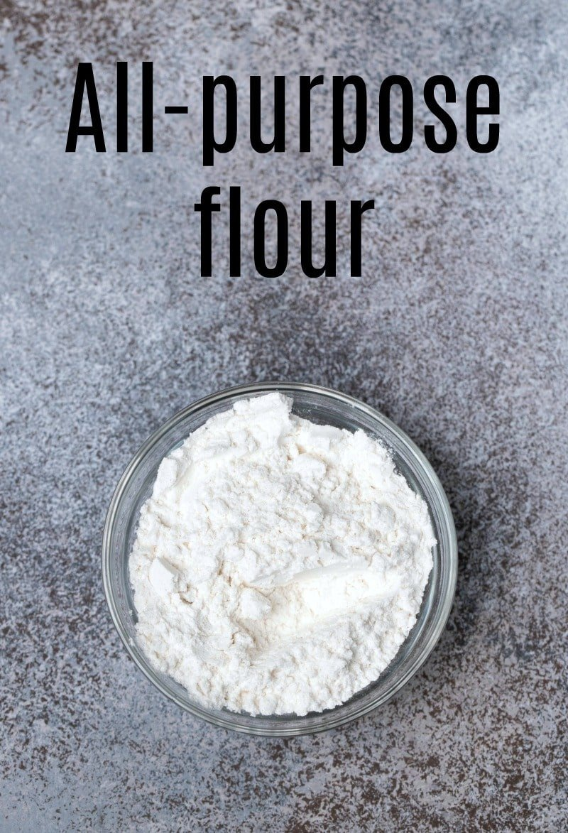 all-purpose flour in a glass dish