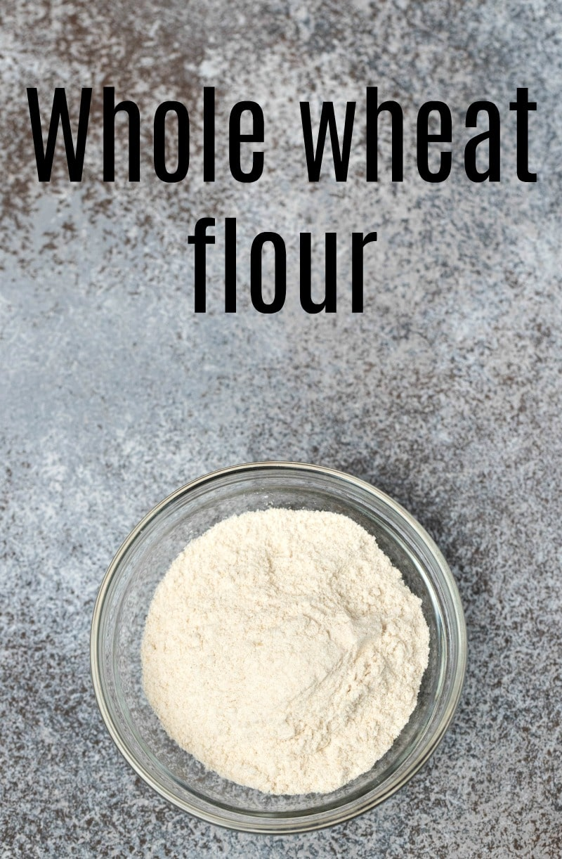 Glass dish with whole wheat flour