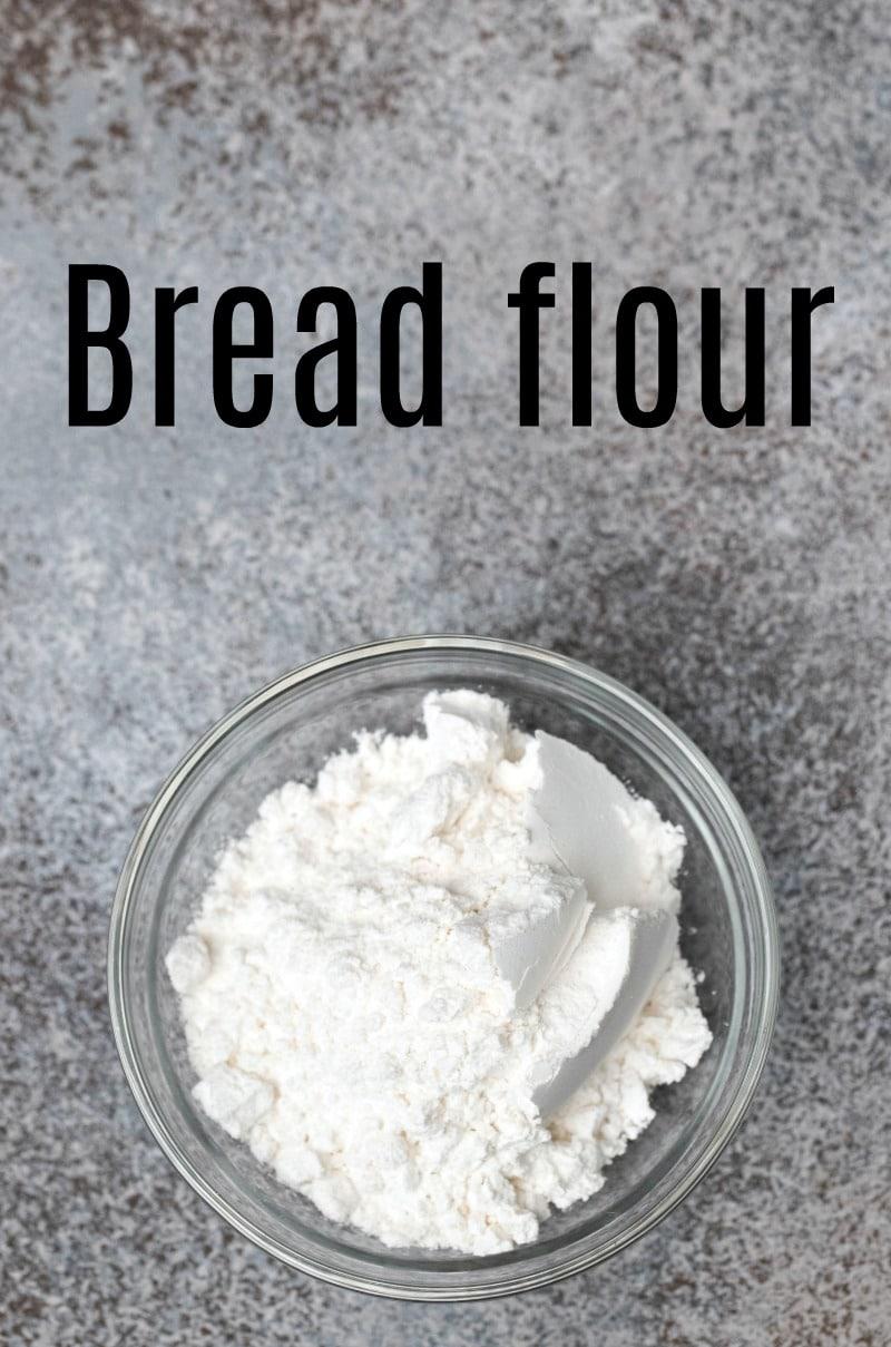 Bread flour in a glass dish