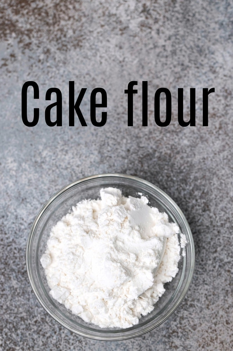 Cake flour in a glass dish