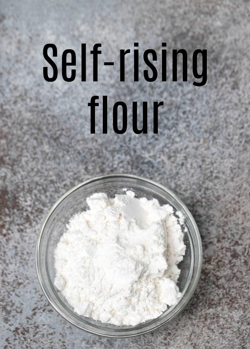Self-rising flour in a glass dish