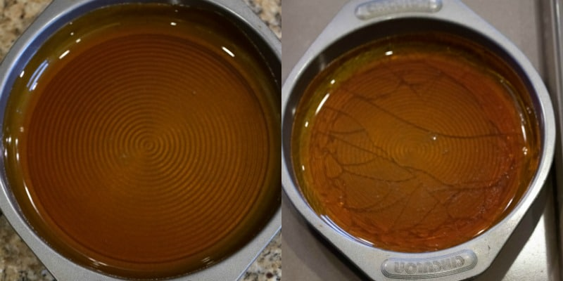 Melted caramel in a cake pan