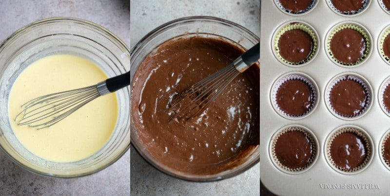 Chocolate chocolate chip muffin batter in a glass mixing bowl
