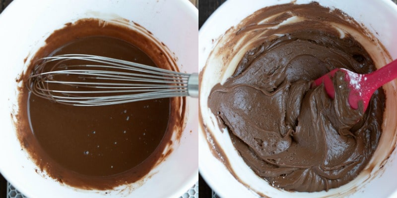Chocolate frosting in a white mixing bowl