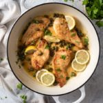 Chicken piccata topped with capers and lemon slices