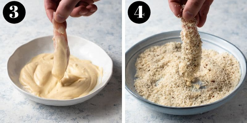 Step by step photos for how to make baked chicken tenders without flour or egg