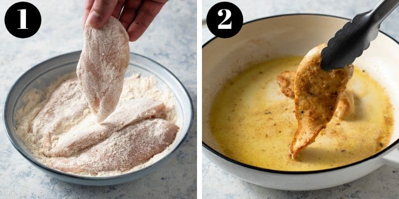 Step by step photos for how to make chicken piccata