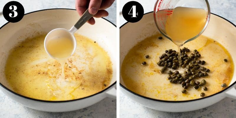 Two process shots of making chicken piccata with capers and lemon juice