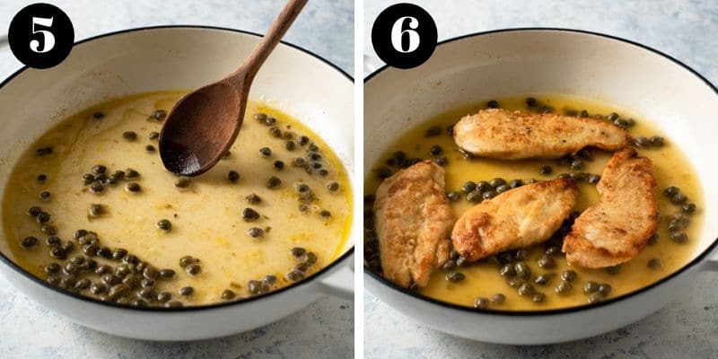 Two process shots of making chicken piccata sauce