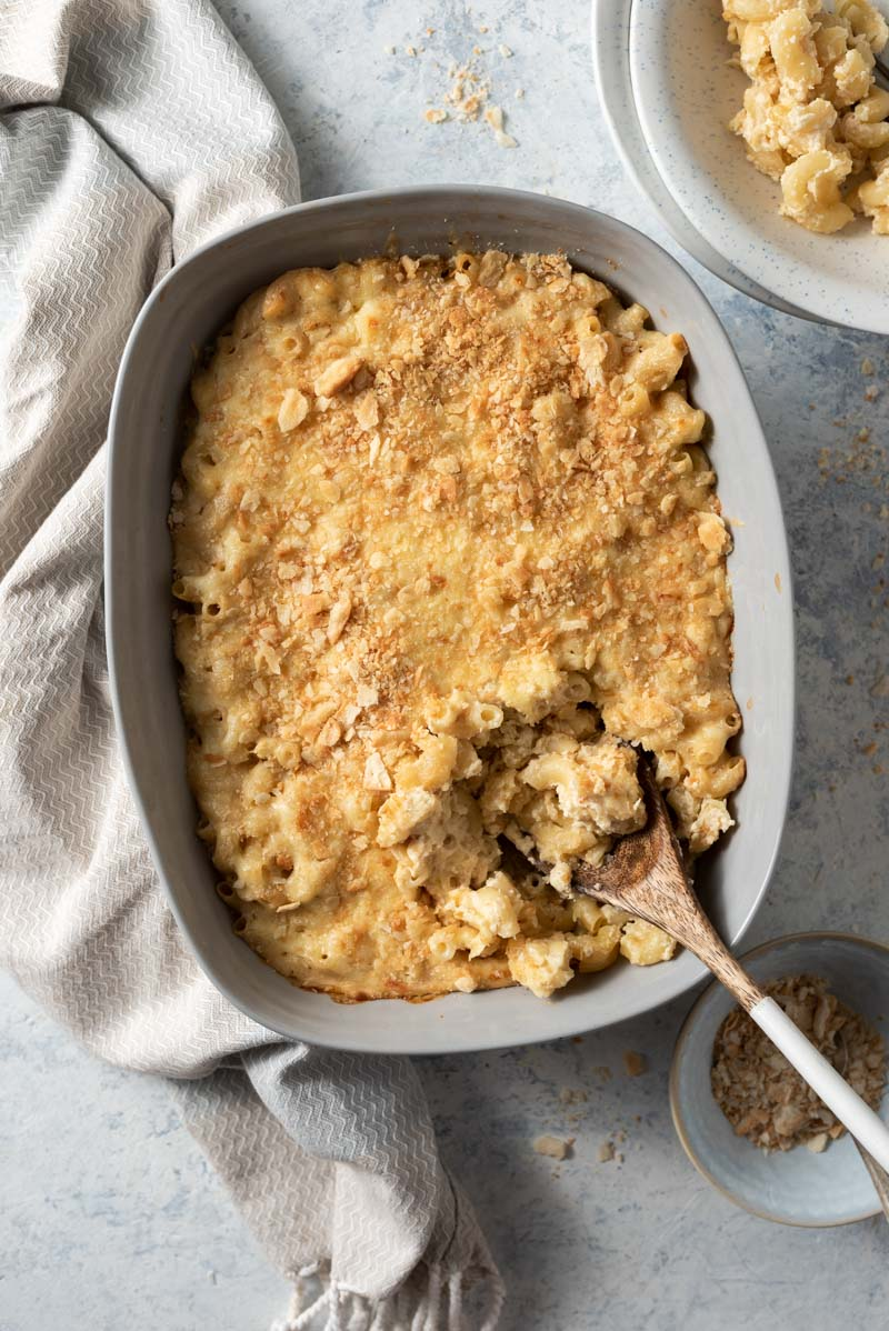 An overhead shot of cauliflower mac and cheese in a baking dish