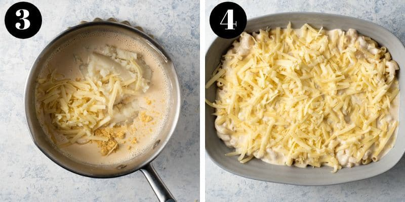 Step by step photos for making cauliflower mac and cheese sauce