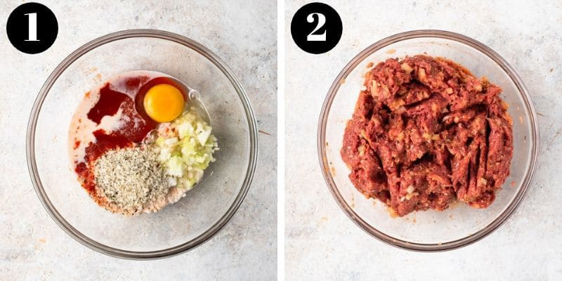 Two photos showing how to make an easy meatloaf