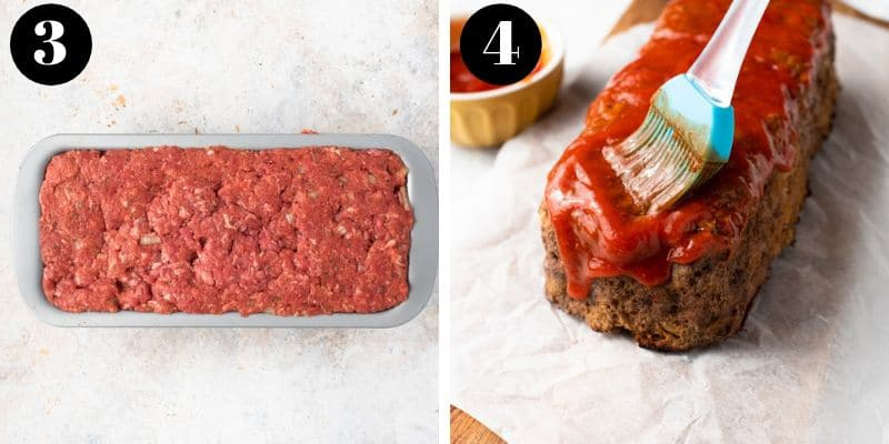 Two process shots for making easy meatloaf