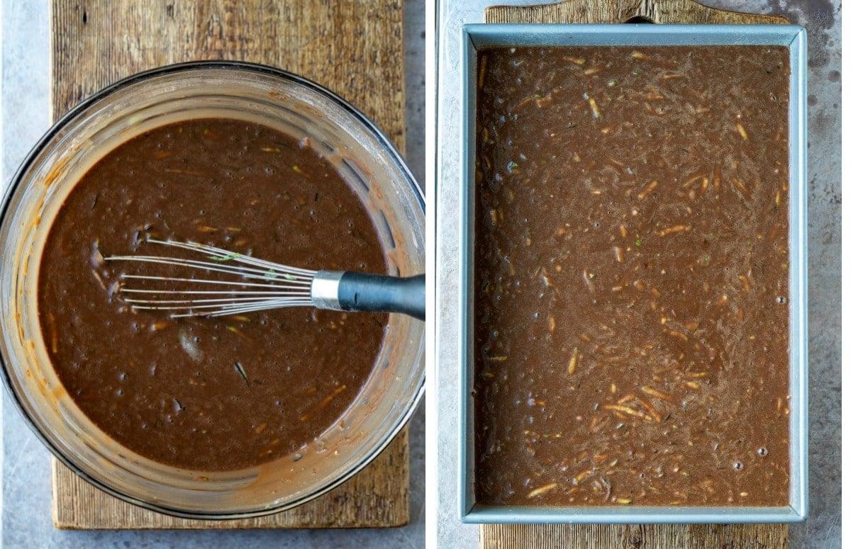 Chocolate zucchini cake batter in a silver baking pan
