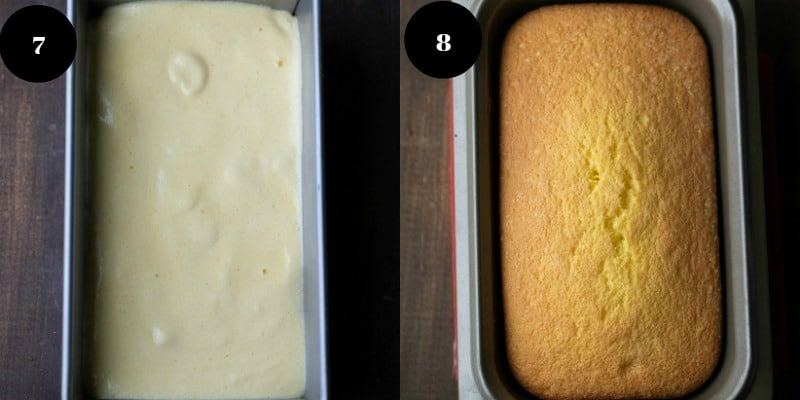 Sponge cake batter in a loaf pan