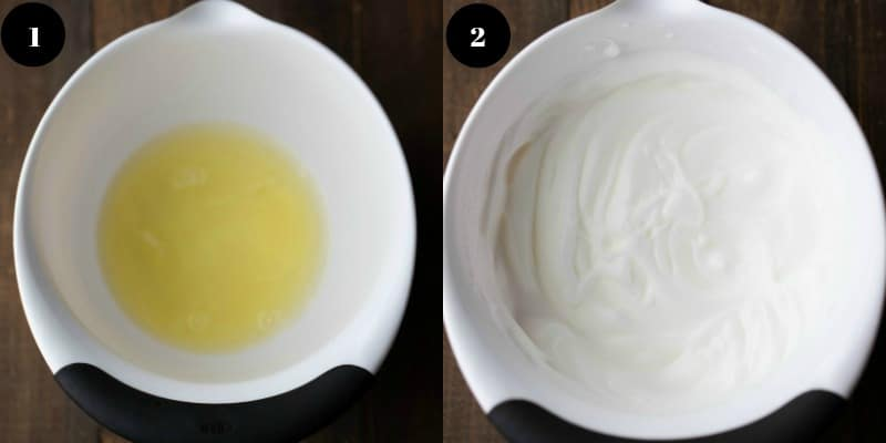 Beaten egg whites in a mixing bowl