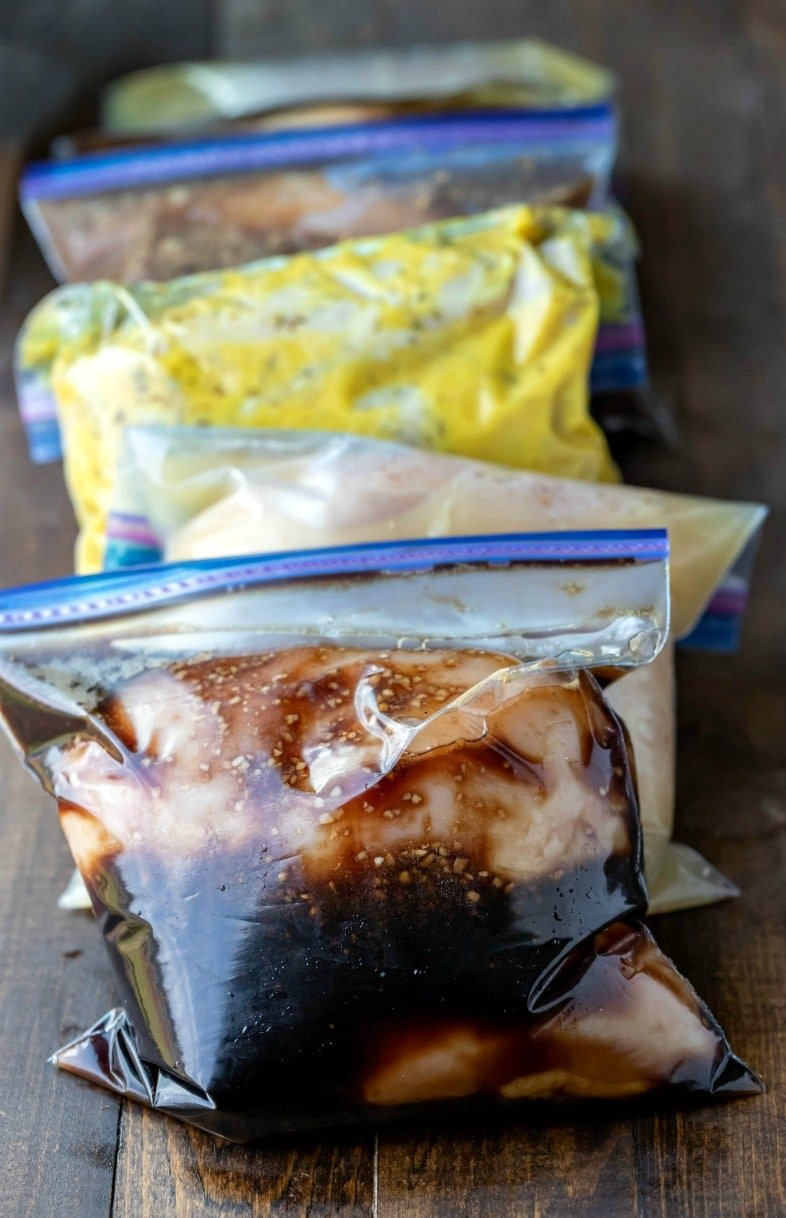 Resealable bags with chicken in marinade