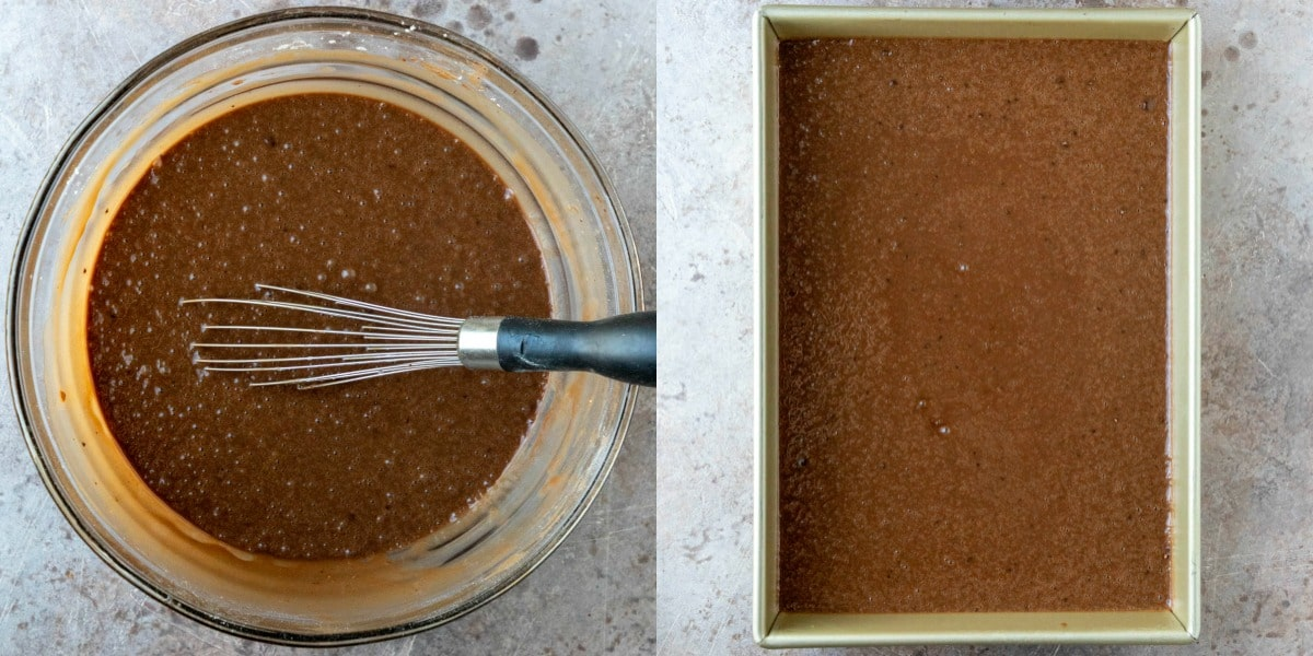 German chocolate cake batter in a baking pan